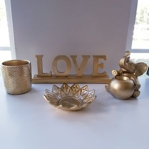 Gold Decor Lot sign, candle holders, jewelry bowl